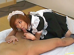 Perverted maid Aito sucks some obese moist wang at Japanese Doxies