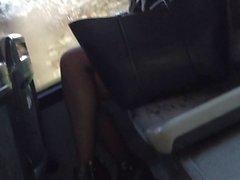 candid pantyhose bus pt 1