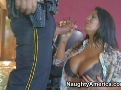 Sexy Busty Sienna gives head to policeman