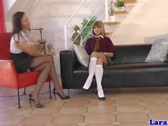 Mature in lingerie gets spanked by petite teen