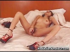 Super hot asian babe drilling her hairy part5