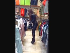 Huge ass in leather pants and high heels