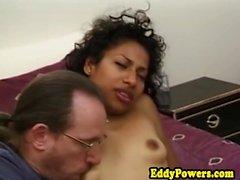Amateur ebony babe facialized during groupsex