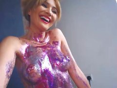 Sparkling woman on webcam