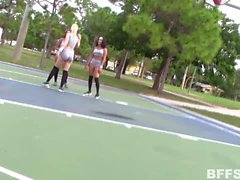Sexy basketball babes lick and fuck