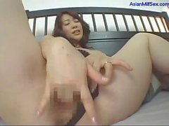 Milf In Lingerie Fingering Herself While Guy Jerking Off His Cock Licking Semen From Guy Belly And Cock On The Bed