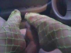 Guy gets footjob in car blocked orgasm