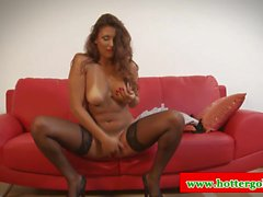 Euro latin hottie gives hot solo show before blowjob
