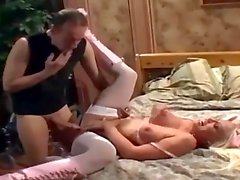 Blonde nurse fucking in boots and fishnet