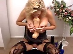 Bizarre mature amateur blonde hardcore huge dildo insertions
