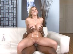 Blonde slut with a phat ass sucks off hung black stud then gets fucked