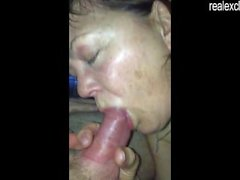 50 years old Brenda enjoying 2 cocks