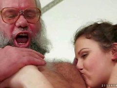 Grandpa and hairy girl enjoying nasty sex