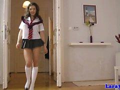 Mature UK lesbian queened by schoolgirl