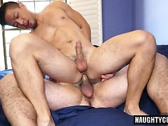 Asian jock anal sex with cumshot