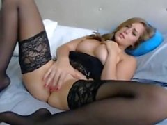 beautiful woman in black stockings masturbates lustfully - faptime