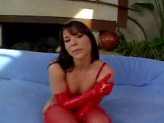 slut in red fucks two man