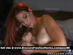 Sweet redhead babe behind the car gets a blowjob