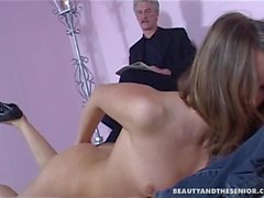 Teen in heels take an old cock