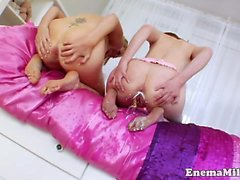 Milk enema squirter gives clisma