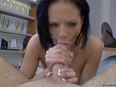 Black haired chick Aliz gives throat job