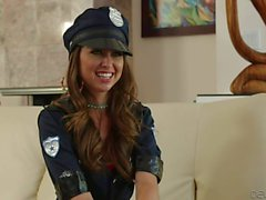 Sexy police babe Riley Reed in green stockings
