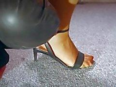 Horny Teacher milf footjob jerks blowing stocking squirt