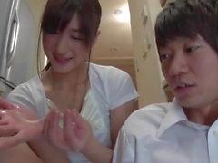 Greedy Japanese Milf gives Handjob and Blowjob