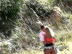 Blonde slut outdoor blowjob in a public park