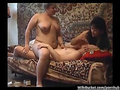 Real MILF in a homemade threesome