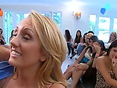 Horny babes get to ride and engulf strippers wild ramrods