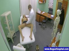 Topless patient fucked and licked by dr