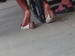 Candid Ebony Shoeplay in Cafeteria