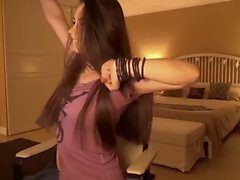 Super Sexy Brunette Striptease and Masturbating, Long Hair