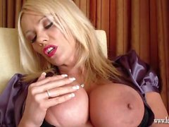 Horny busty blonde Milf toying her amazing tight pussy