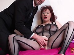 Mature submissive choked while masturbating