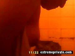 Hidden camera my showering BBW Mum 42 years