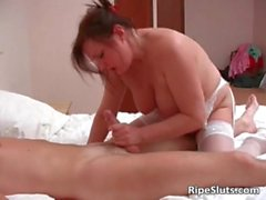 Busty chubby mature redhead gets that