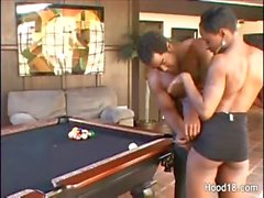 Ebony girl pounded on the pool table