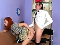 Lewd teacher devouring lass