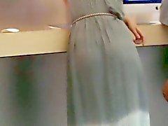 De l'étudiante mignon robe maxi visible par transparence string et culottes vpl