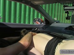 Fake taxi driver gets blowjob while driving