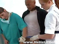 Medical girls give small cock amateur guy a handjob