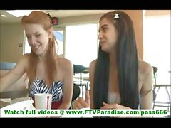 Tamara and Lacie hot lesbian girlfriends wearing skirts and flashing tits in public and flashing pussy