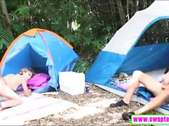 Pretty teenies enjoyed nasty foursome in the camp site