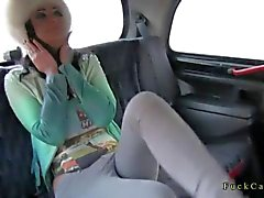 Big tits tattooed brunette fucks in a fake taxi