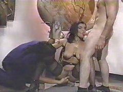 Hot Brunette Threesome Fuck 1990s Classic
