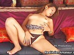 Petite asian slut sliding dildo on her part2