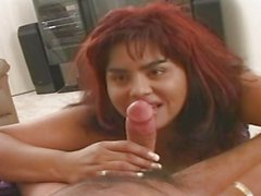 Chubby redhead has her hairy pussy crammed full