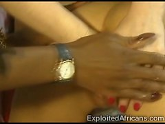 Naughty African slut fistfucks a beautiful brunette babe